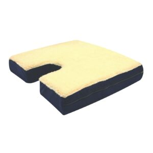 Gel Wheelchair Cushion with Coccyx Cutout and Fleece Top